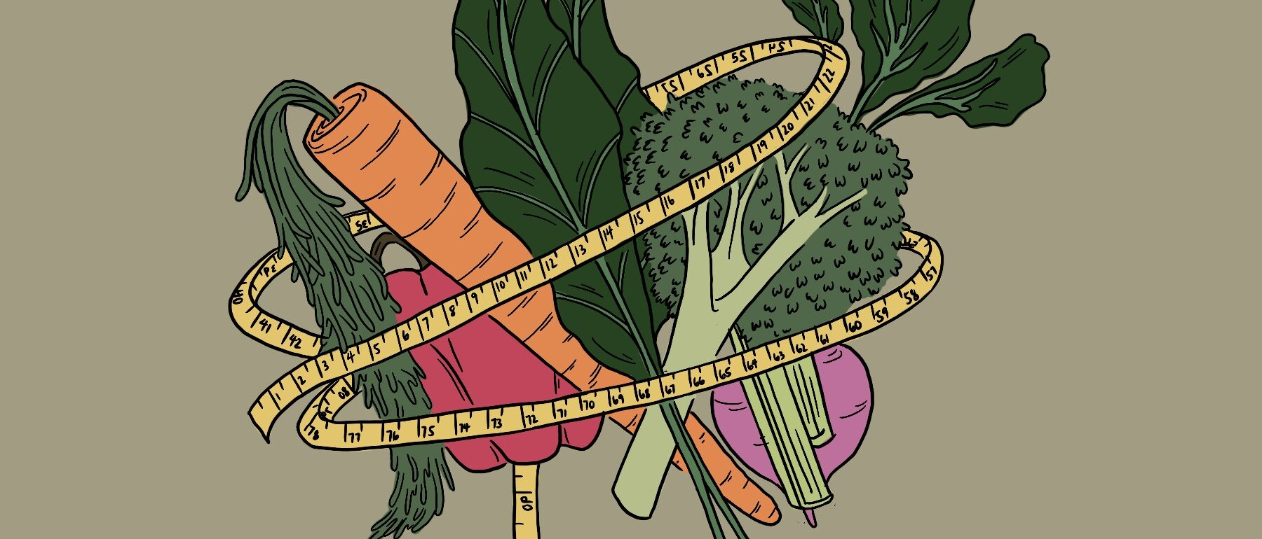 Orthorexia, an image of vegetables wrapped in a measuring tape