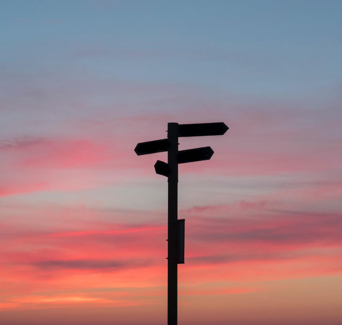 uncertain direction - a signpost at dusk
